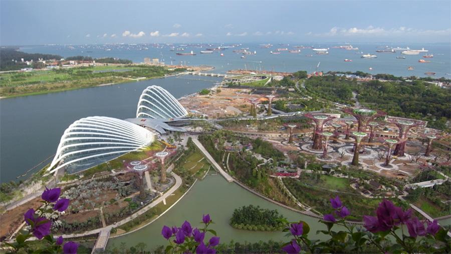 Gardens by the Bay, Singapore, вид с высоты