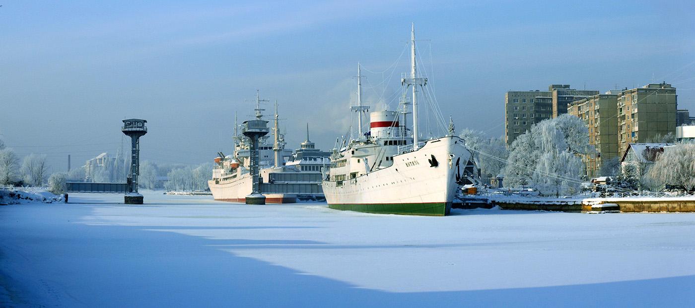 Музей Мирового океана в Калининграде, зимняя набережная