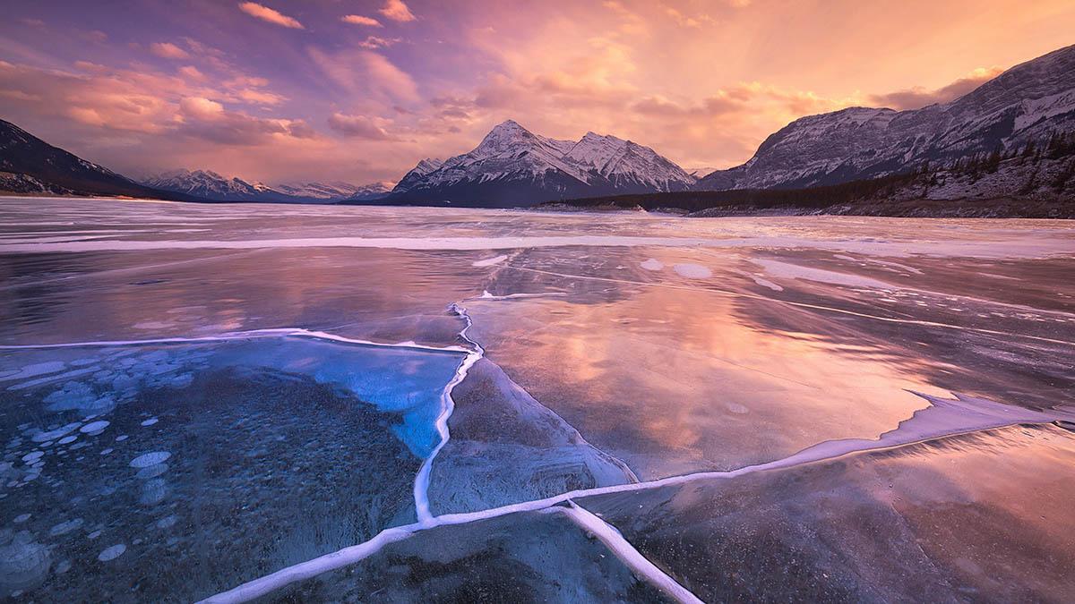 Abraham Lake, sunset