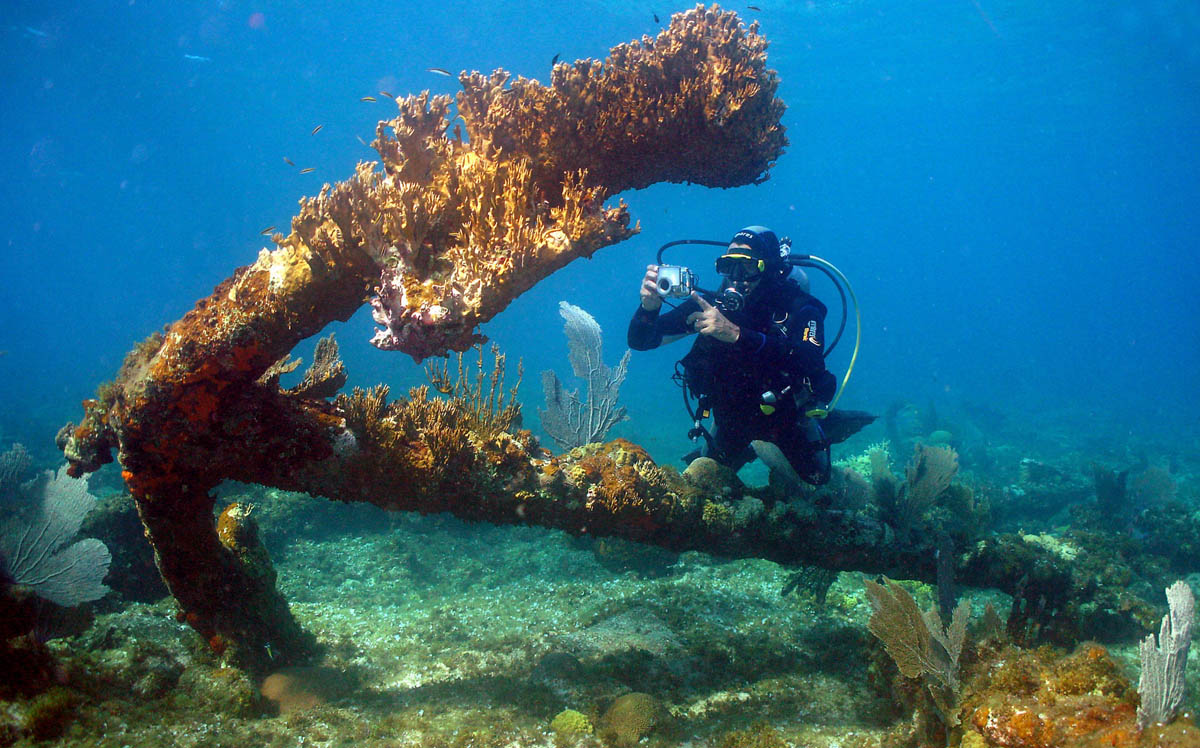 wreck diving, затонувший якорь
