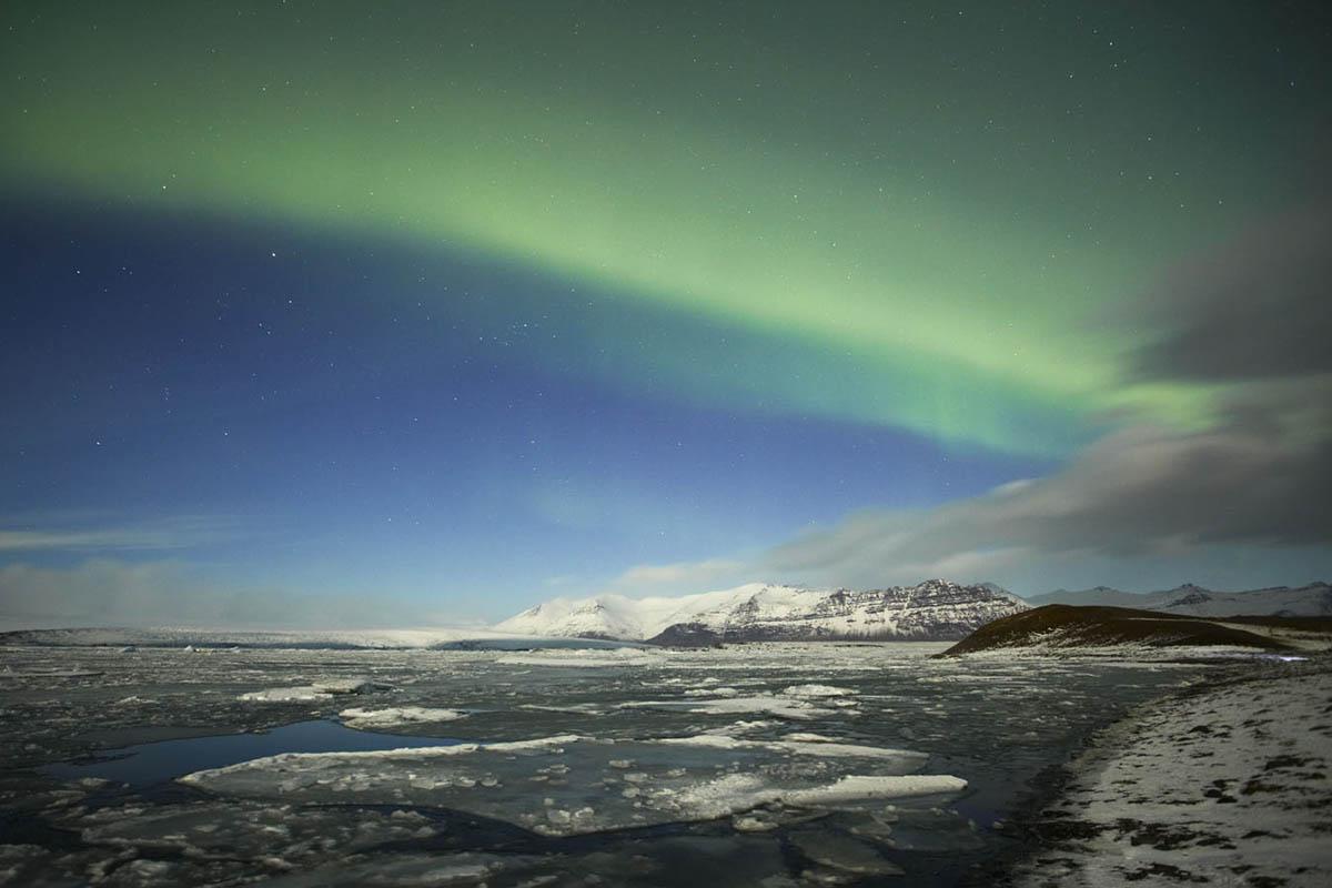 Jokulsarlon aurora, Iceland