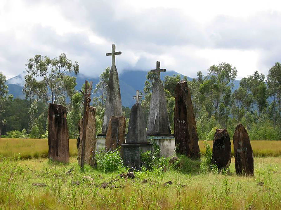 Ancient Malagasy upright stone graves Madagascar