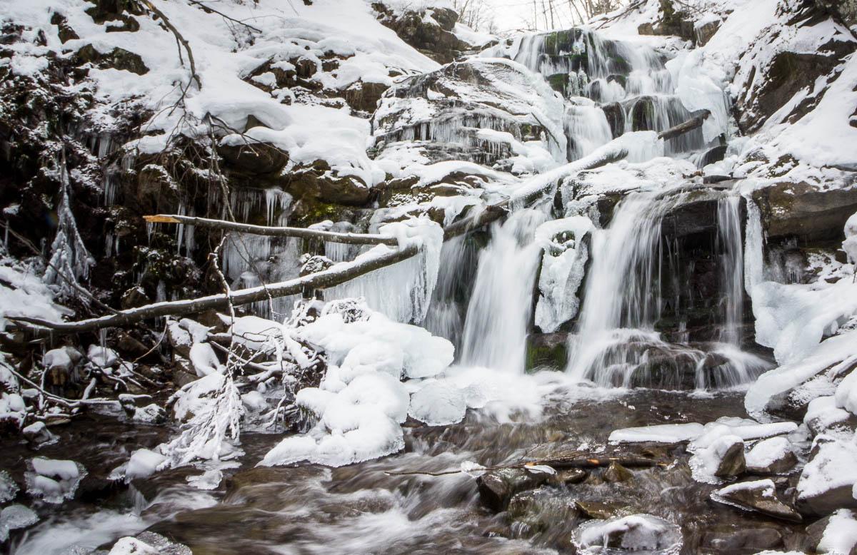 водопад Шипот зимой, Закарпатье