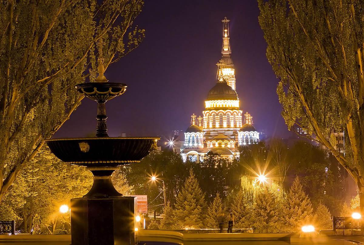 Благовещенский собор с Покровского сквера ночью