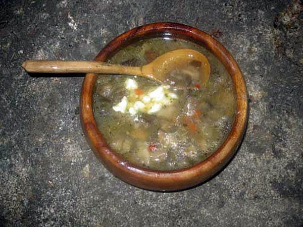 грибной суп в походе