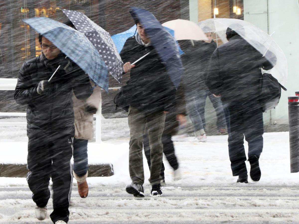 в Японии выпал снег