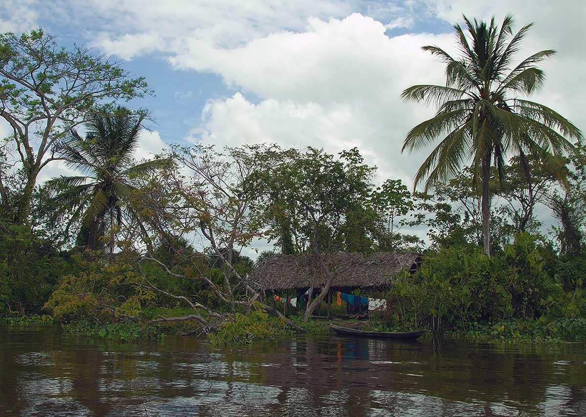 индейский домик на реке Ориноко, Венесуэла