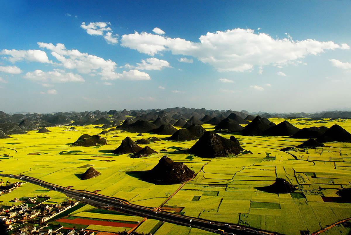 рапсовые поля Шивандашан, Китай