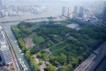 вид на парк Хамарикю с высоты