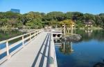 мост на пруду в парке Хамарикю, Токио