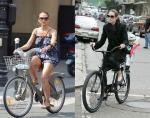 Джессика Альба и Анджелина Джоли на велосипедах