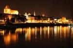 ночной вид Старого города из острова Кепа Базарова