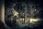 база отдыха Петяярви зимней ночью